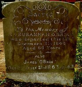 Full image of Susannah's Headstone photographed by P. McCormick.